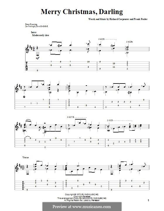 Merry Christmas, Darling (Carpenters): Гитарная табулатура by Frank Pooler, Richard Carpenter