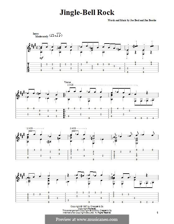 Jingle Bell Rock: Гитарная табулатура (A Major) by Jim Boothe, Joe Beal