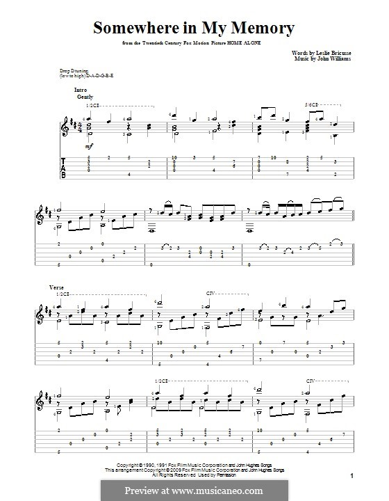 Somewhere in My Memory: Гитарная табулатура by John Williams