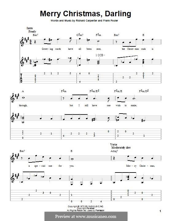 Merry Christmas, Darling (Carpenters): Для гитары (A Major) by Frank Pooler, Richard Carpenter