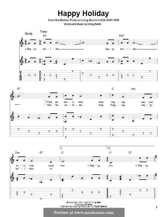 Happy Holiday: Гитарная табулатура by Ирвинг Берлин