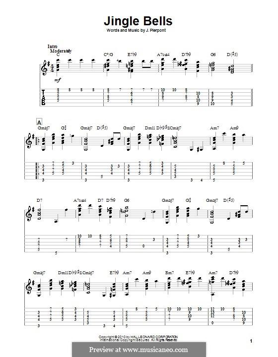 Jingle Bells (Printable scores): Гитарная табулатура (ноты высокого качества) by James Lord Pierpont