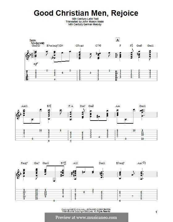 Good Christian Men, Rejoice: Для гитары by folklore
