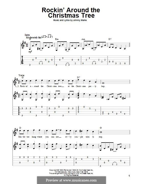 Rockin' Around the Christmas Tree: Гитарная табулатура by Johnny Marks