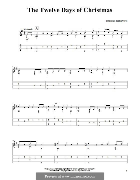 The Twelve Days of Christmas: Гитарная табулатура by folklore