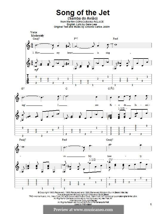Song of the Jet (Samba do Aviao): Гитарная табулатура by Antonio Carlos Jobim