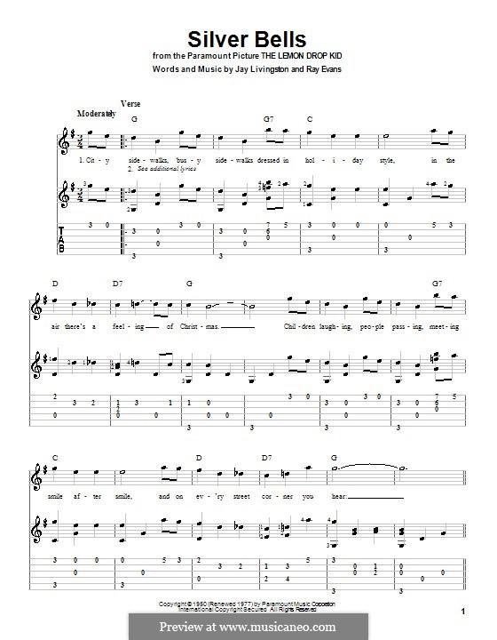 Silver Bells: Для гитары (G Major) by Jay Livingston, Raymond Evans