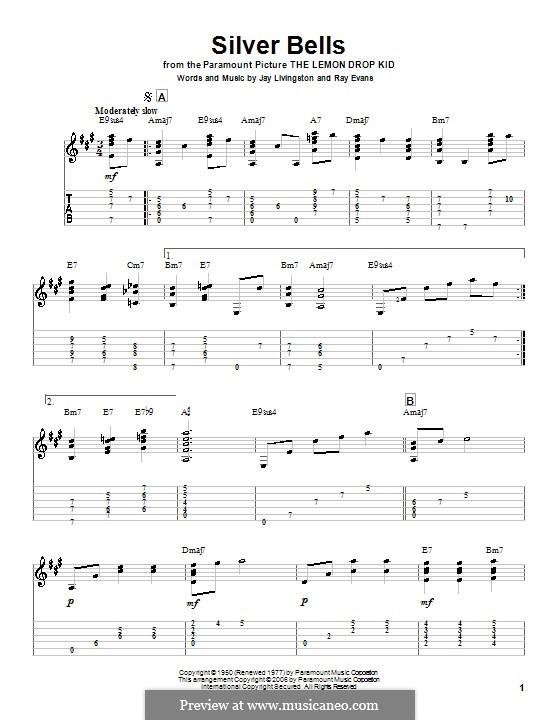 Silver Bells: Для гитары (A Major) by Jay Livingston, Raymond Evans