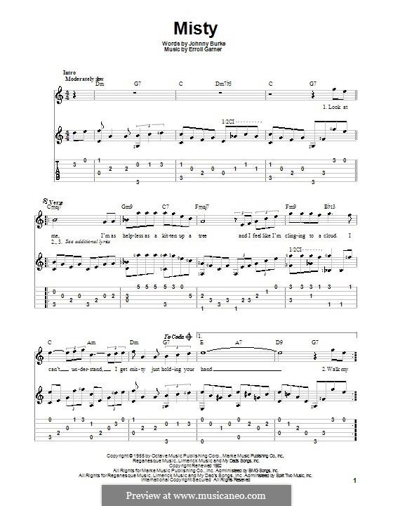 Misty (Johnny Mathis): Гитарная табулатура by Erroll Garner