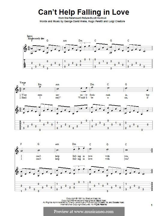 Can't Help Falling in Love: Гитарная табулатура by George David Weiss, Hugo Peretti, Luigi Creatore