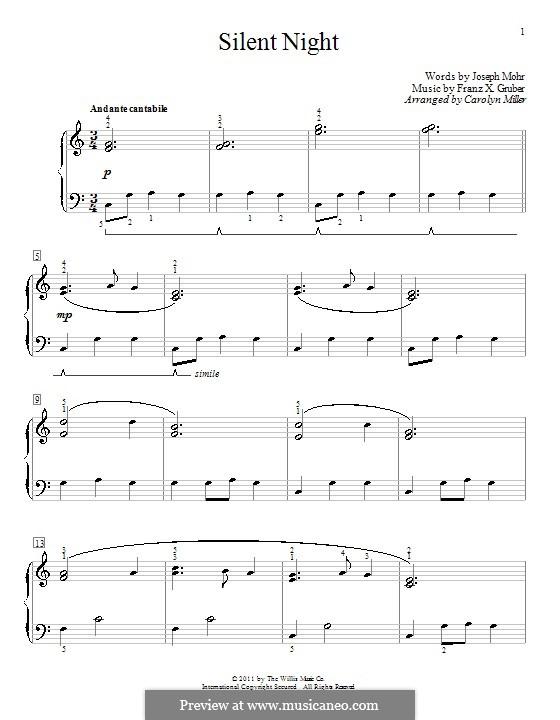 Тихая ночь, для фортепиано: С аппликатурой by Франц Ксавьер Грубер