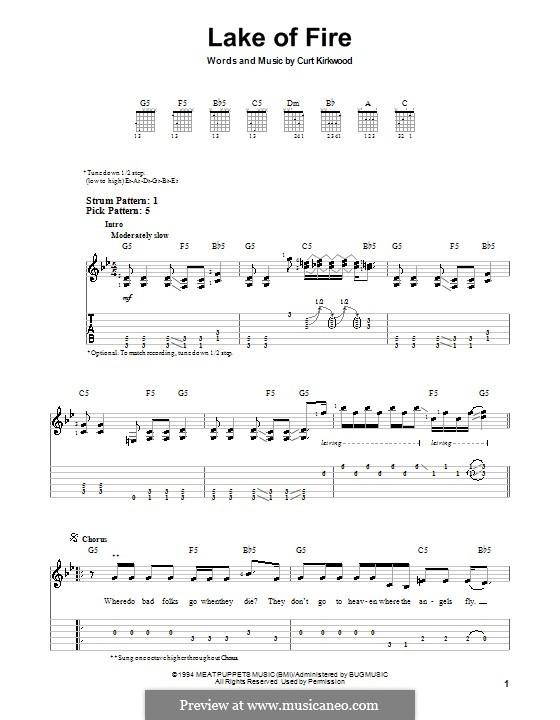 Lake of Fire (Nirvana): Для гитары (очень легкая версия) by Curt Kirkwood