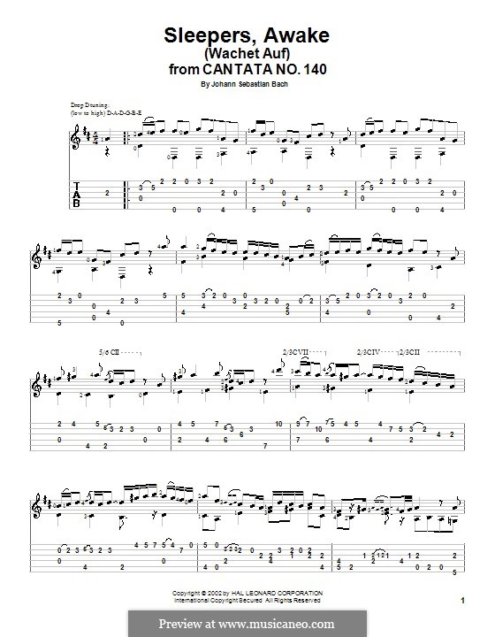 Sleepers, Awake: Гитарная табулатура by Иоганн Себастьян Бах
