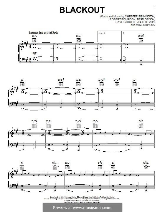 Blackout (Linkin Park): Для голоса и фортепиано (или гитары) by Brad Delson, Charles Bennington, David Farrell, Joseph Hahn, Mike Shinoda, Rob Bourdon