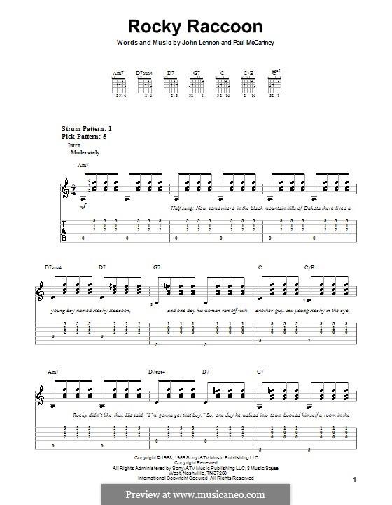 Rocky Raccoon (The Beatles): Для гитары (очень легкая версия) by John Lennon, Paul McCartney