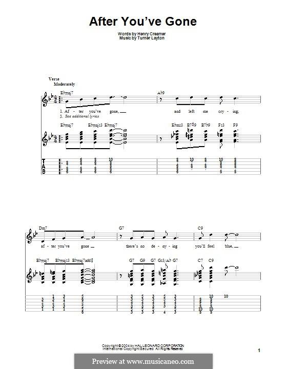 After You've Gone (Sophie Tucker): Гитарная табулатура by Henry Creamer, J. Turner Layton