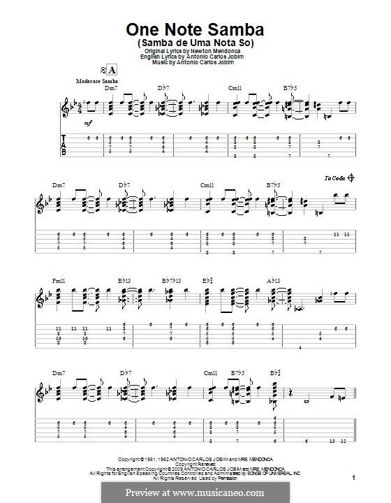 One Note Samba (Samba De Uma Nota): Гитарная табулатура by Antonio Carlos Jobim