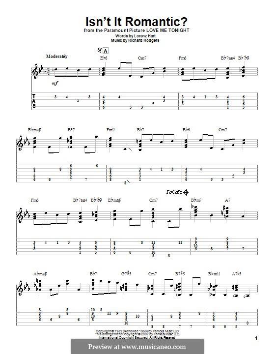 Isn't it Romantic?: Гитарная табулатура by Richard Rodgers