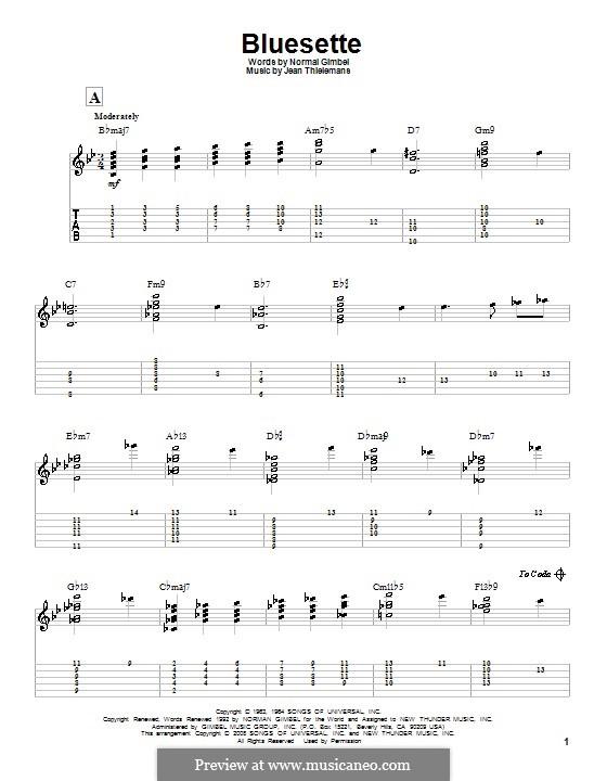 Bluesette: Гитарная табулатура by Jean Thielemans