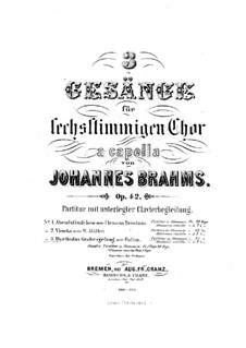 Три песни, Op.42: Сборник by Иоганнес Брамс