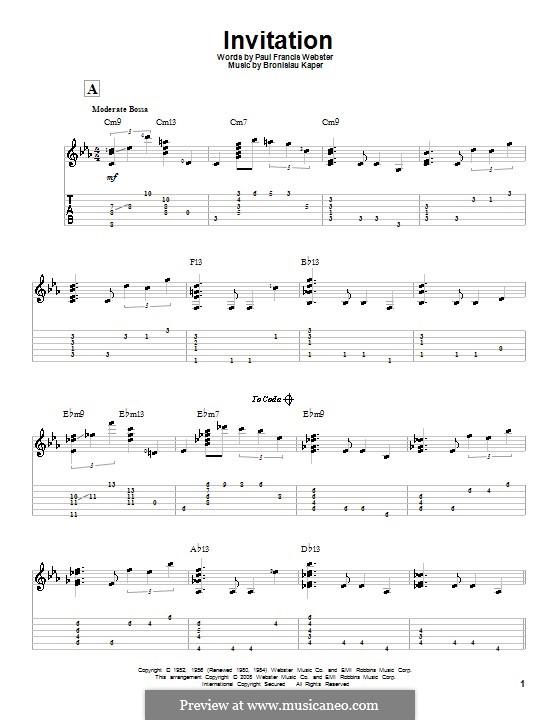 Invitation: Для гитары с табулатурой by Bronislau Kaper