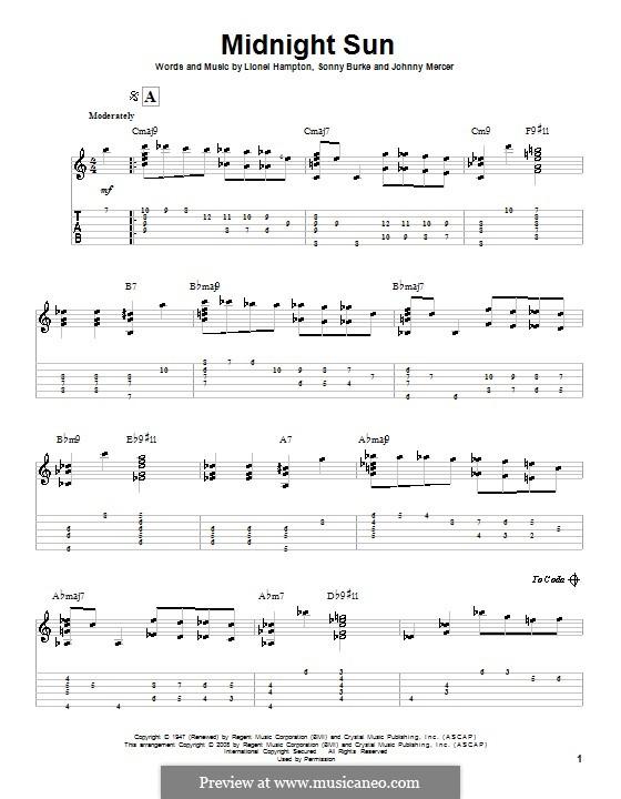 Midnight Sun: Для гитары с табулатурой by Johnny Mercer, Lionel Hampton, Sonny Burke