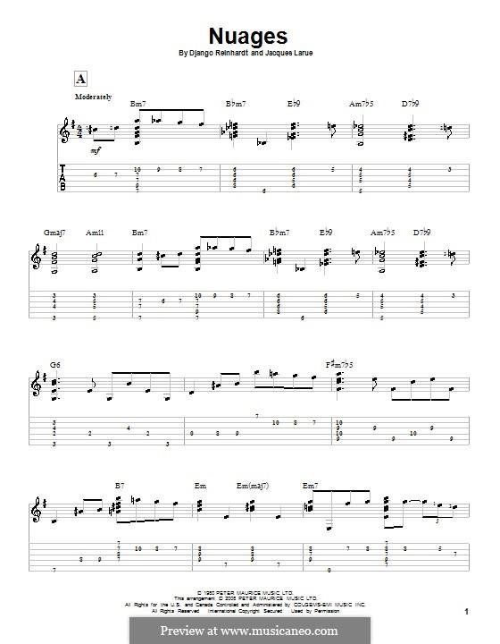 Nuages: Гитарная табулатура by Jacques Larue