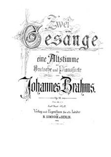 Две песни для голоса, альта и фортепиано, Op.91: Партитура by Иоганнес Брамс