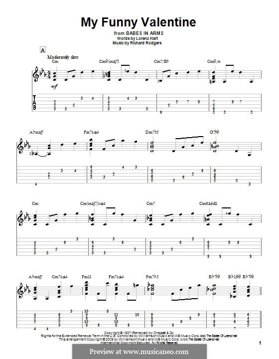 My Funny Valentine: Для гитары с табулатурой by Richard Rodgers