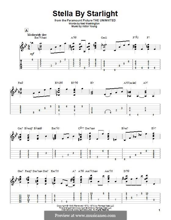 Stella By Starlight: Гитарная табулатура by Victor Young