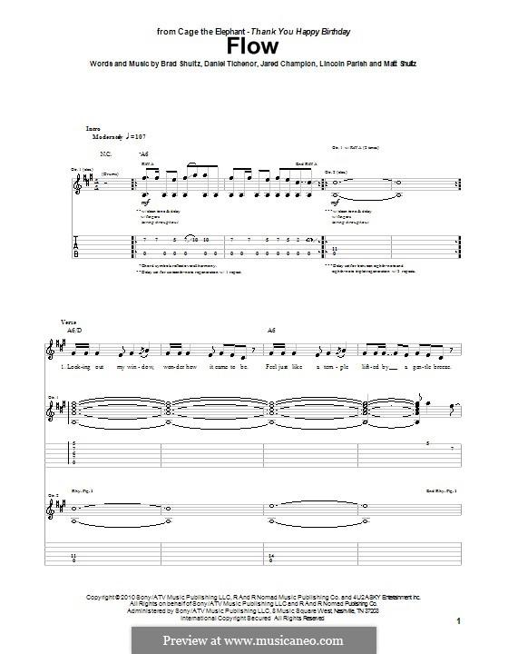 Flow (Cage the Elephant): Гитарная табулатура by Brad Shultz, Daniel Tichenor, Jared Champion, Lincoln Parish, Matt Shultz