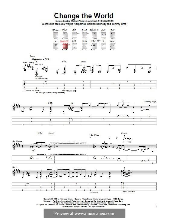 Change the World (Eric Clapton and Wynonna): Гитарная табулатура by Gordon Kennedy, Tommy Sims, Wayne Kirkpatrick