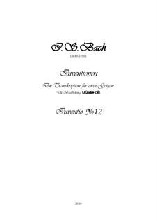 No.12 ля мажор, BWV 783: Для двух скрипок, партитура и партии by Иоганн Себастьян Бах