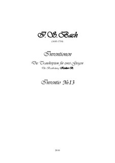 No.13 ля минор, BWV 784: Для двух скрипок, партитура, партии by Иоганн Себастьян Бах