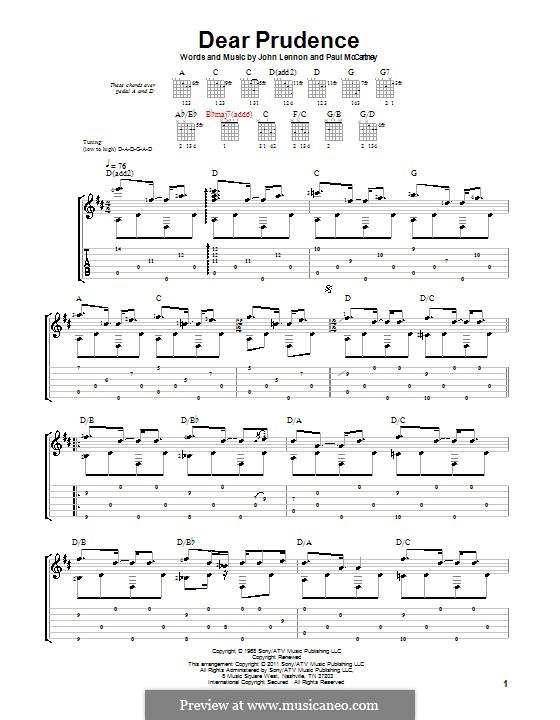 Dear Prudence (The Beatles): Для гитары (ноты высокого качества) by John Lennon, Paul McCartney