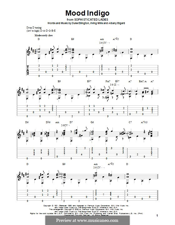 Mood Indigo: Гитарная табулатура by Irving Mills, Albany Bigard, Duke Ellington
