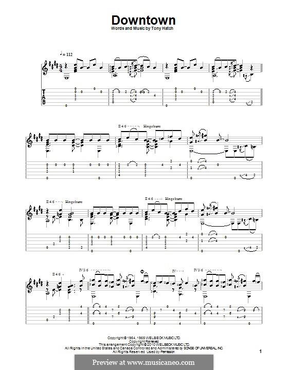 Downtown (Petula Clark): Для гитары с табулатурой by Tony Hatch