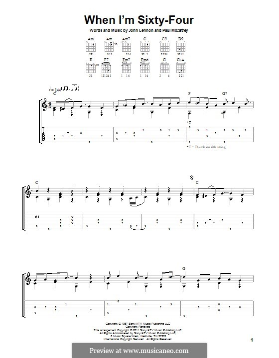 When I'm Sixty-Four (The Beatles), for One Instrument: Гитарная табулатура by John Lennon, Paul McCartney