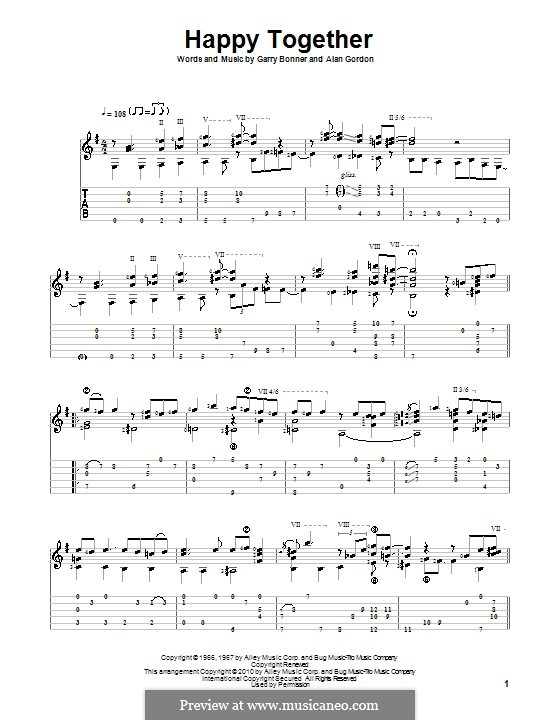 Happy Together (The Turtles): Гитарная табулатура by Alan Gordon, Garry Bonner