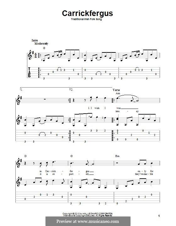 Carrickfergus: Гитарная табулатура by folklore