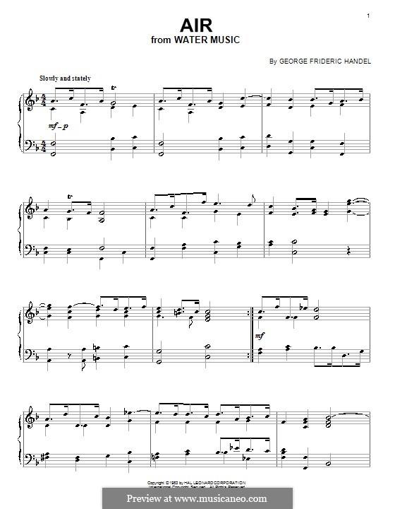 Сюита No.1 фа мажор – Ария, HWV 348: Для фортепиано by Георг Фридрих Гендель