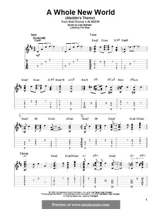 A Whole New World (from Aladdin): Для гитары by Alan Menken