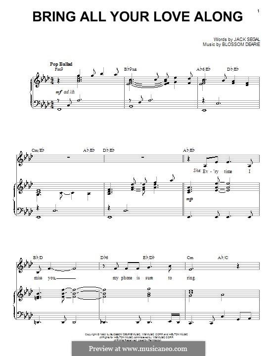 Bring All Your Love Along: Для голоса и фортепиано (или гитары) by Jack Segal