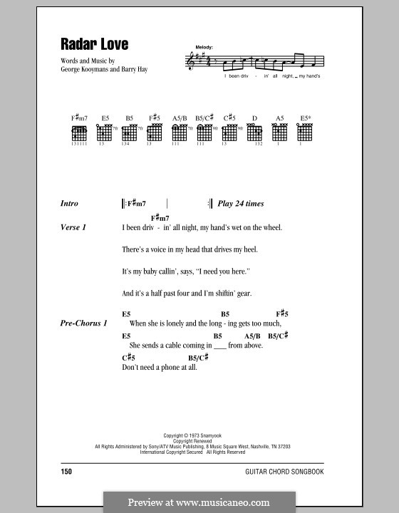 Radar Love (Golden Earring): Текст, аккорды by Barry Hay, George Kooymans