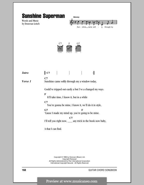 Sunshine Superman: Текст и аккорды by Donovan Leitch