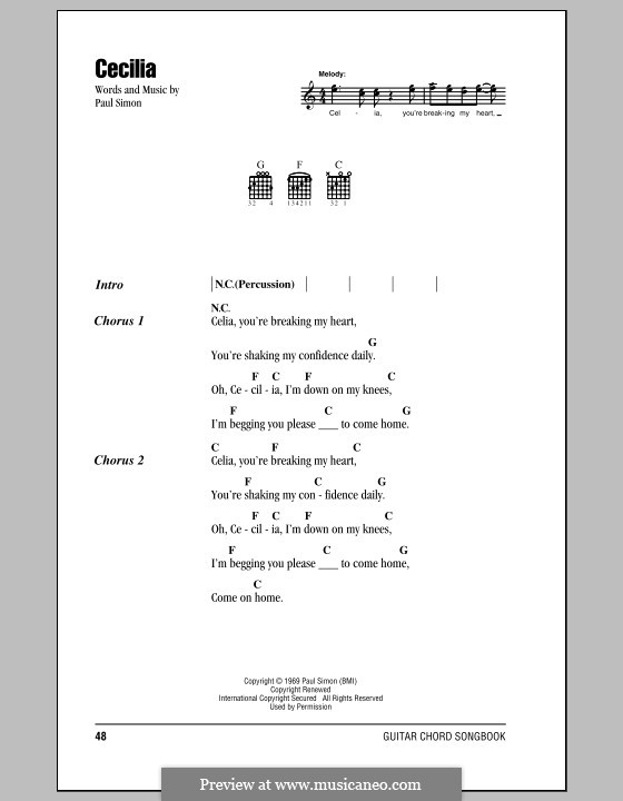 Cecilia (Simon & Garfunkel): Текст, аккорды by Paul Simon