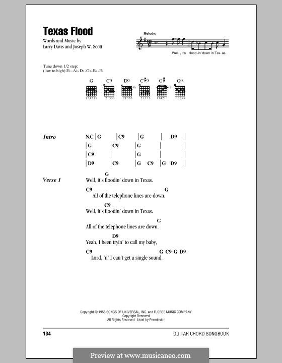 Texas Flood (Stevie Ray Vaughan): Текст, аккорды by Joseph W. Scott, Larry Davis