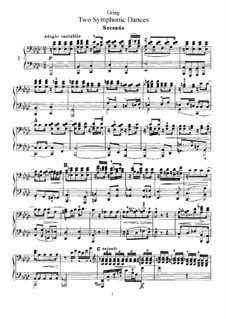 Два симфонических танца, Op.14: Версия для фортепиано в 4 руки by Эдвард Григ