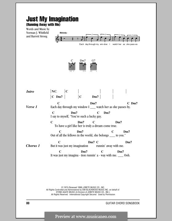 Just My Imagination (Running Away with Me): Lyrics and chords (The Temptations) by Barrett Strong, Norman J. Whitfield