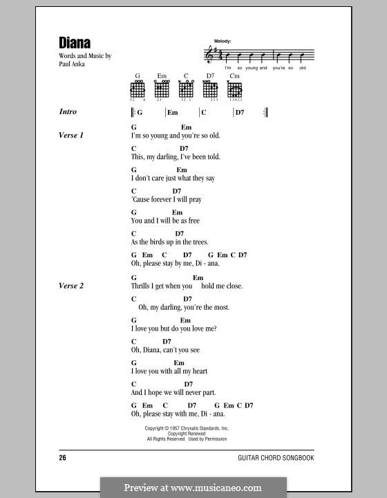 Diana: Текст и аккорды by Paul Anka